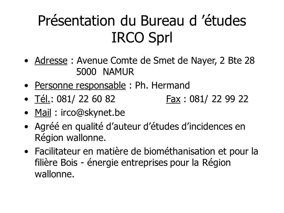 Présentation du Bureau d 'études IRCO Sprl