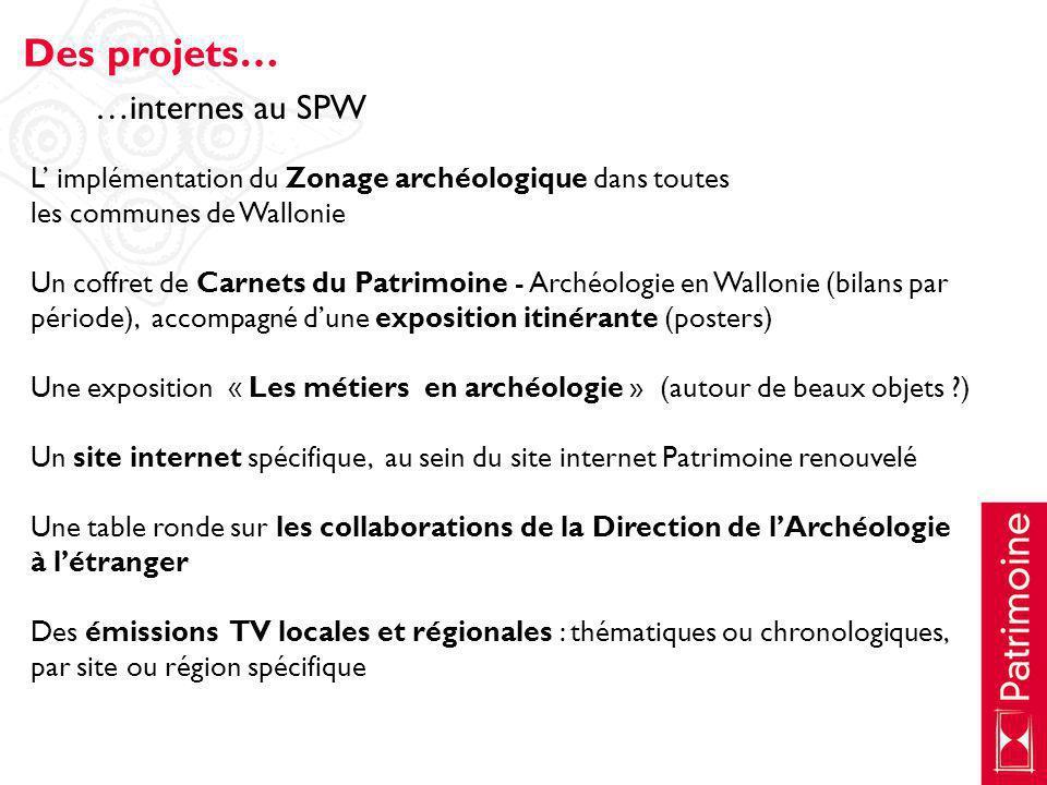 Des projets… …internes au SPW
