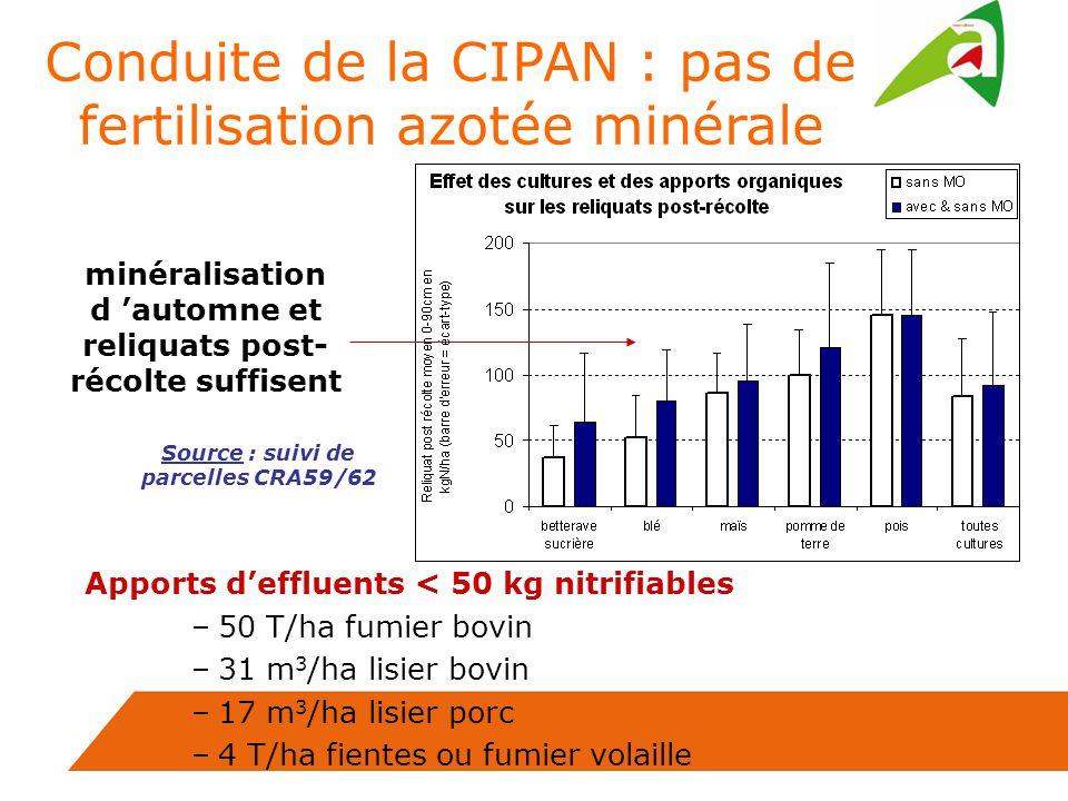 Conduite de la CIPAN : pas de fertilisation azotée minérale