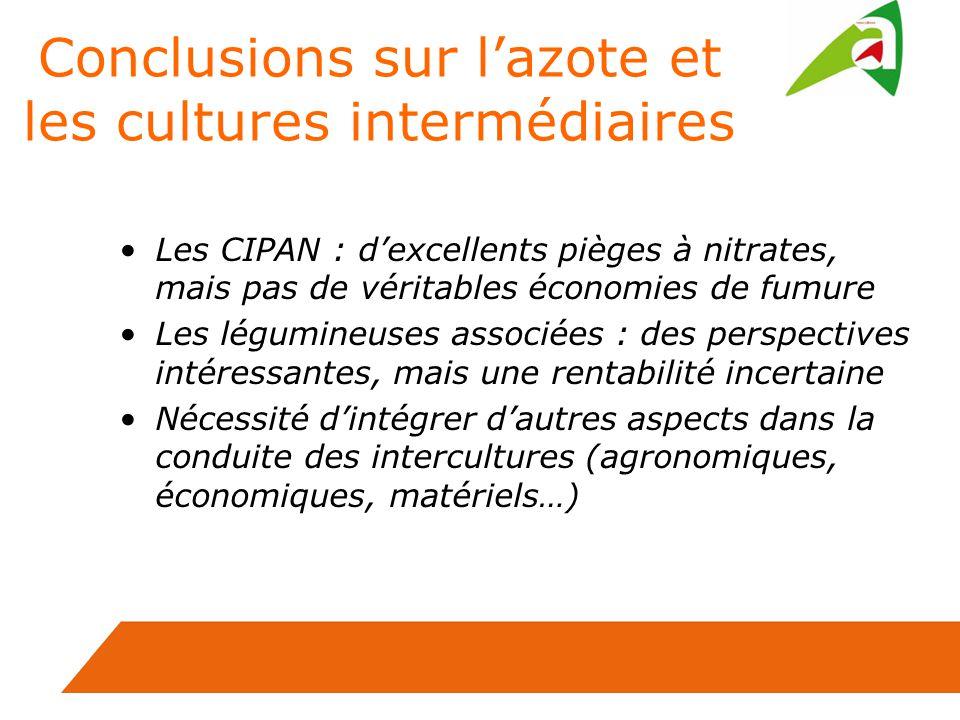 Conclusions sur l'azote et les cultures intermédiaires