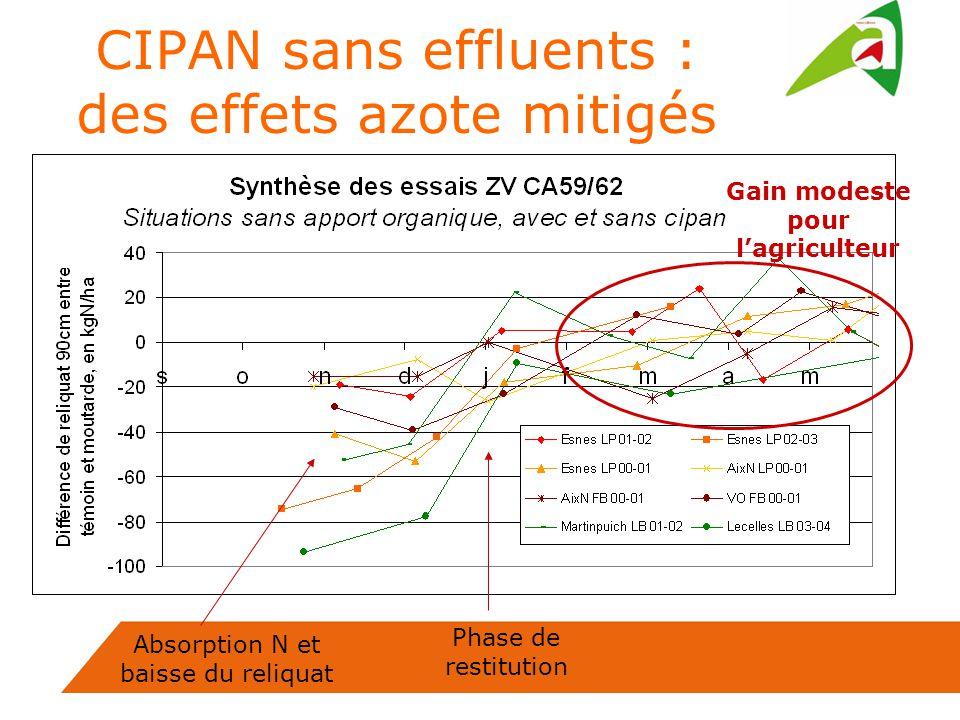 CIPAN sans effluents : des effets azote mitigés