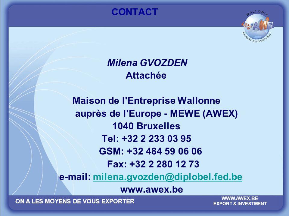 CONTACT Milena GVOZDEN. Attachée. Maison de l Entreprise Wallonne. auprès de l Europe - MEWE (AWEX)