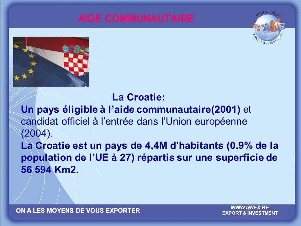 AIDE COMMUNAUTAIRE La Croatie: Un pays éligible à l'aide communautaire(2001) et candidat officiel à l'entrée dans l'Union européenne (2004).