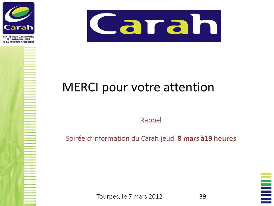 Soirée d'information du Carah jeudi 8 mars à19 heures