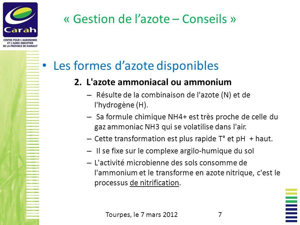 « Gestion de l'azote – Conseils »