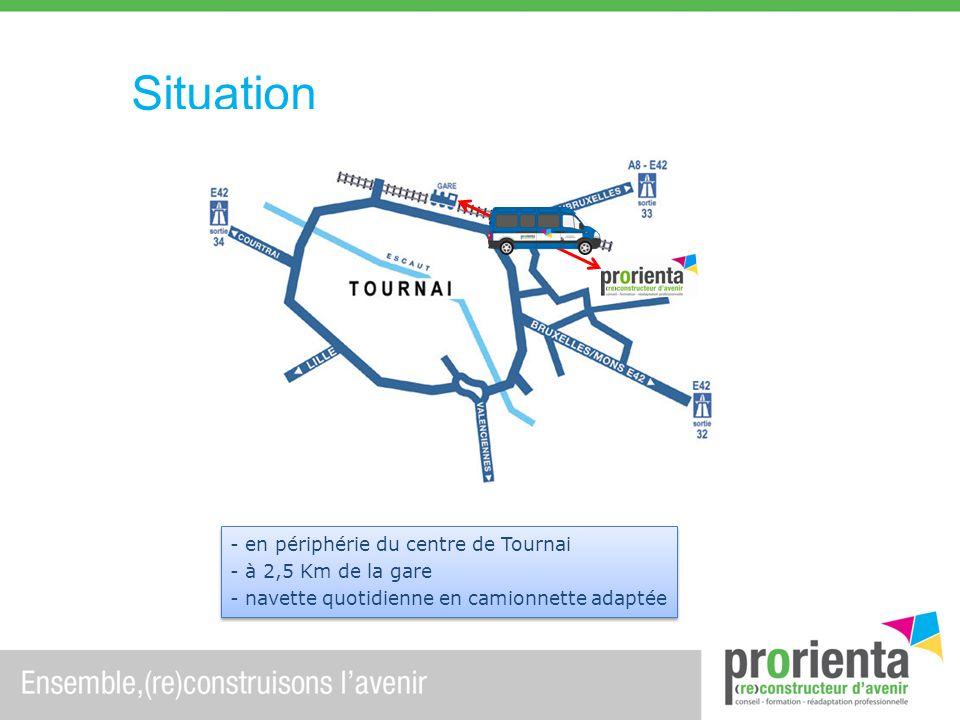 Situation en périphérie du centre de Tournai à 2,5 Km de la gare