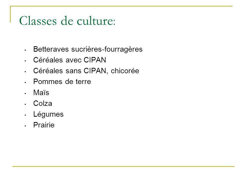 Classes de culture: Betteraves sucrières-fourragères