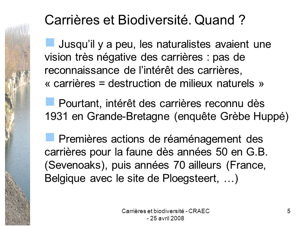 Carrières et biodiversité - CRAEC - 25 avril 2008