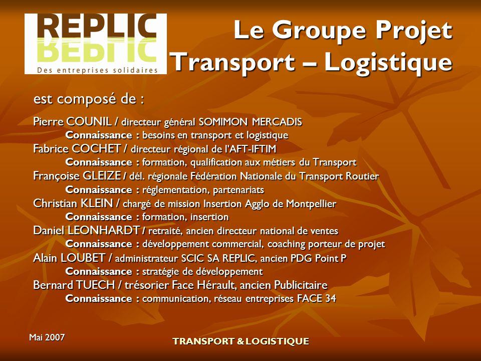 Le Groupe Projet Transport – Logistique