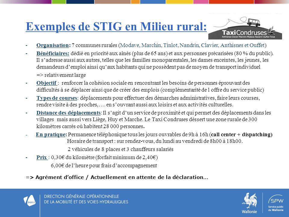 Exemples de STIG en Milieu rural: