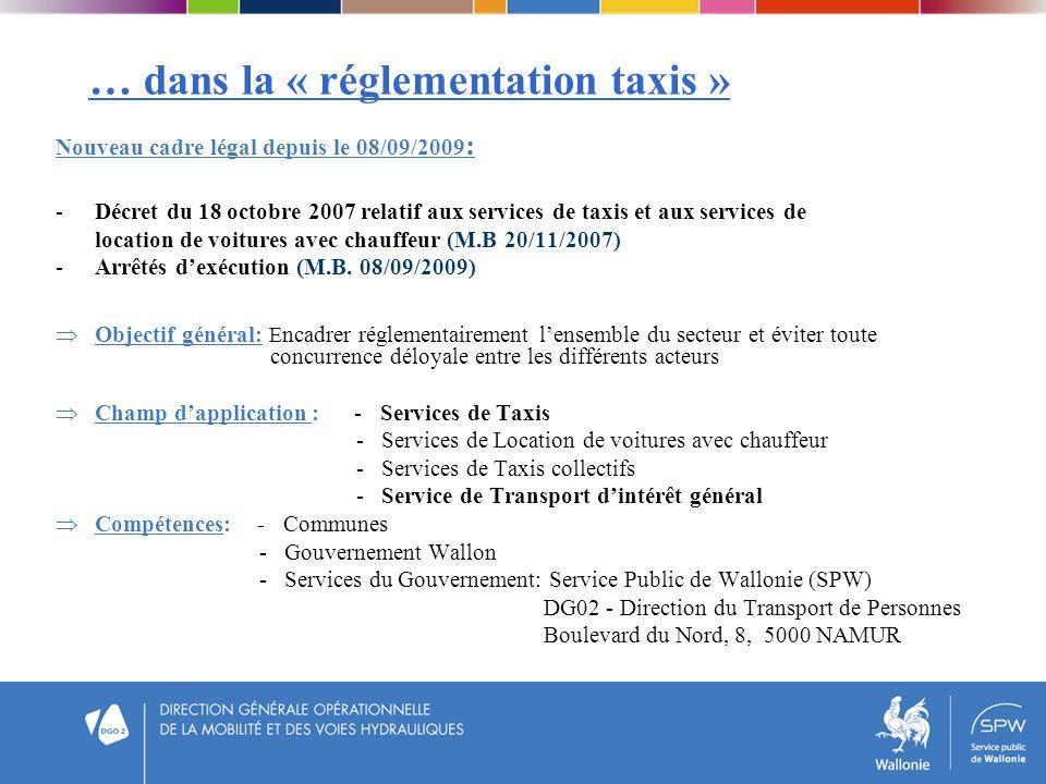 … dans la « réglementation taxis »