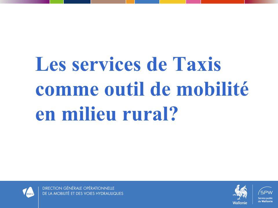 Les services de Taxis comme outil de mobilité en milieu rural