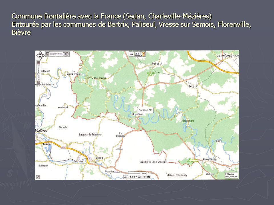 Commune frontalière avec la France (Sedan, Charleville-Mézières) Entourée par les communes de Bertrix, Paliseul, Vresse sur Semois, Florenville, Bièvre