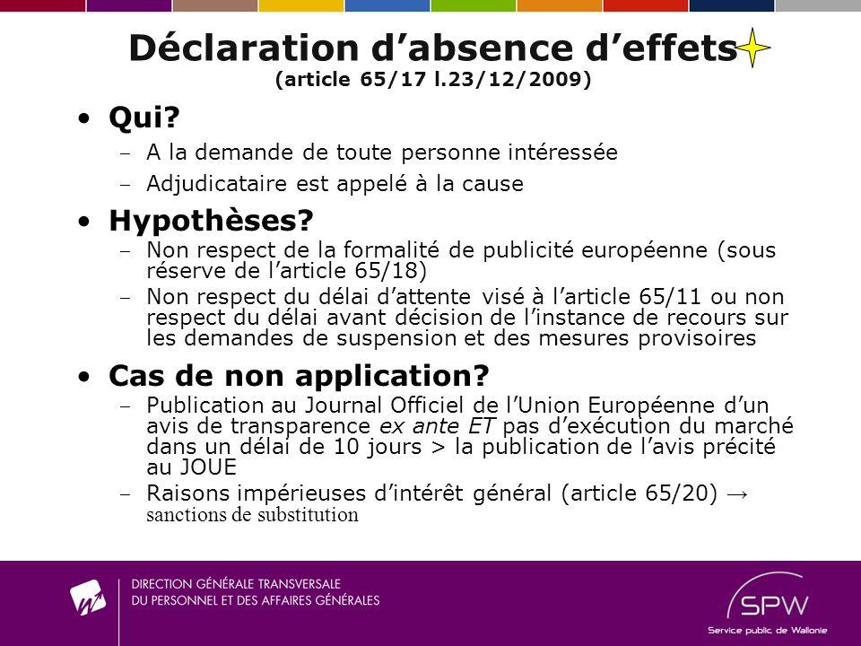 Déclaration d'absence d'effets (article 65/17 l.23/12/2009)