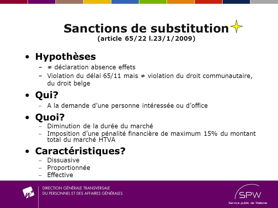 Sanctions de substitution (article 65/22 l.23/1/2009)