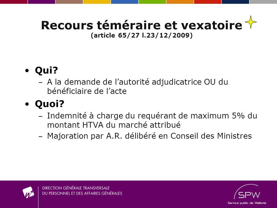 Recours téméraire et vexatoire (article 65/27 l.23/12/2009)