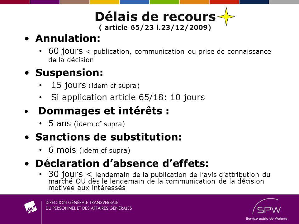 Délais de recours ( article 65/23 l.23/12/2009)