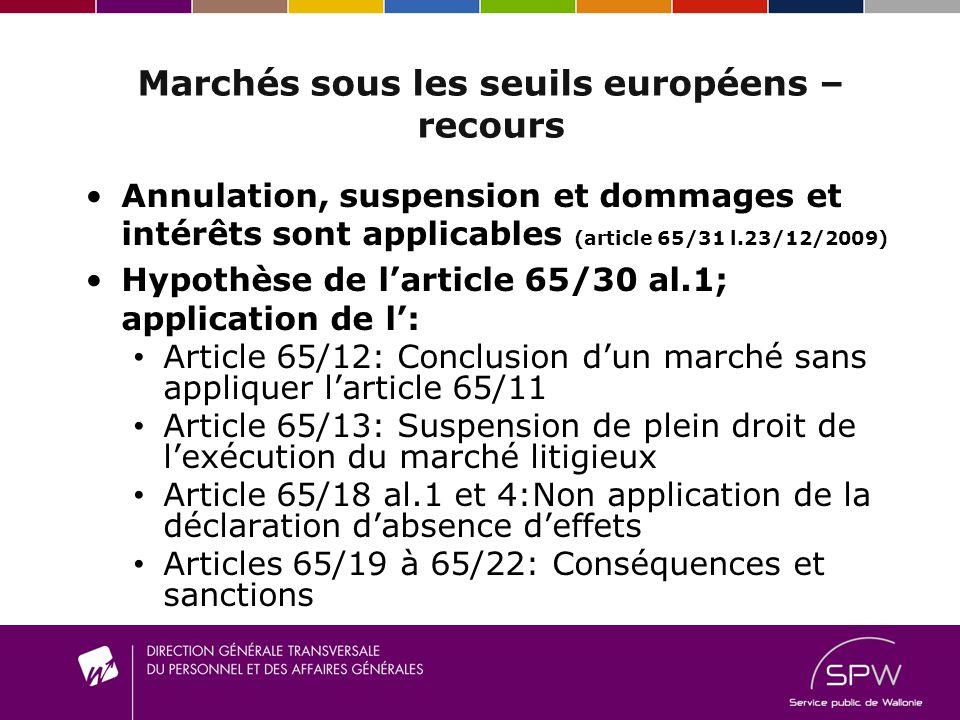 Marchés sous les seuils européens –recours