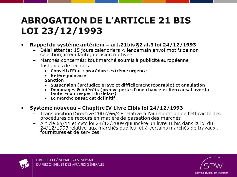 ABROGATION DE L'ARTICLE 21 BIS LOI 23/12/1993