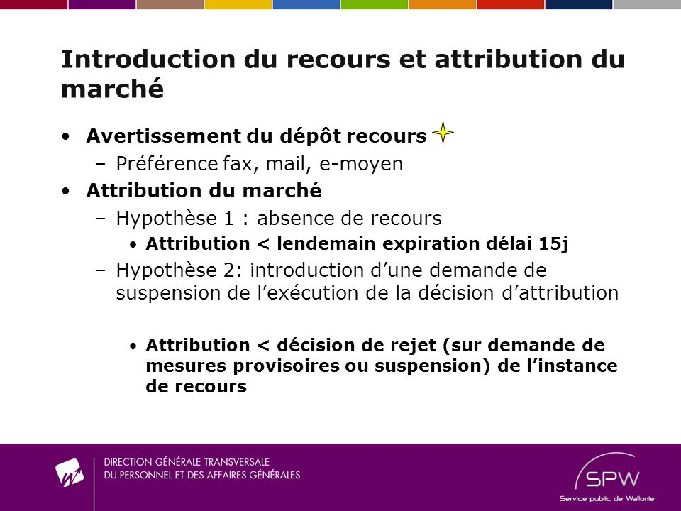 Introduction du recours et attribution du marché