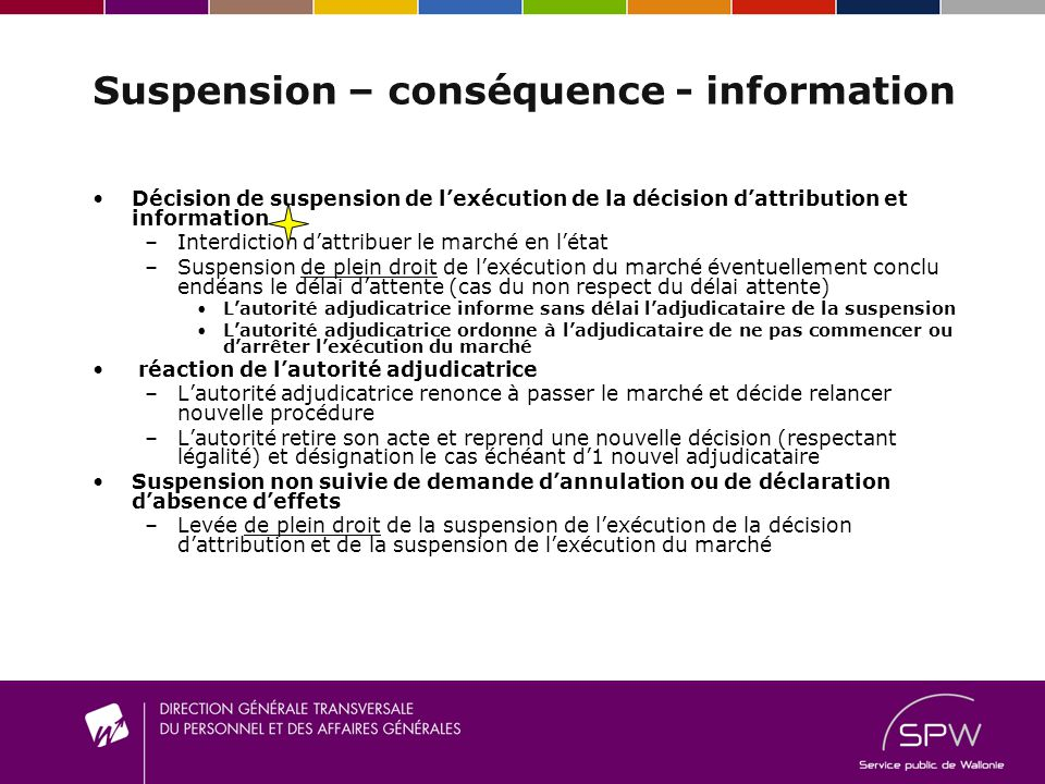 Suspension – conséquence - information