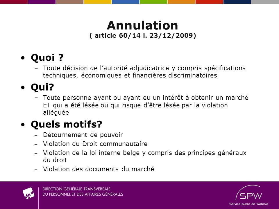 Annulation ( article 60/14 l. 23/12/2009)