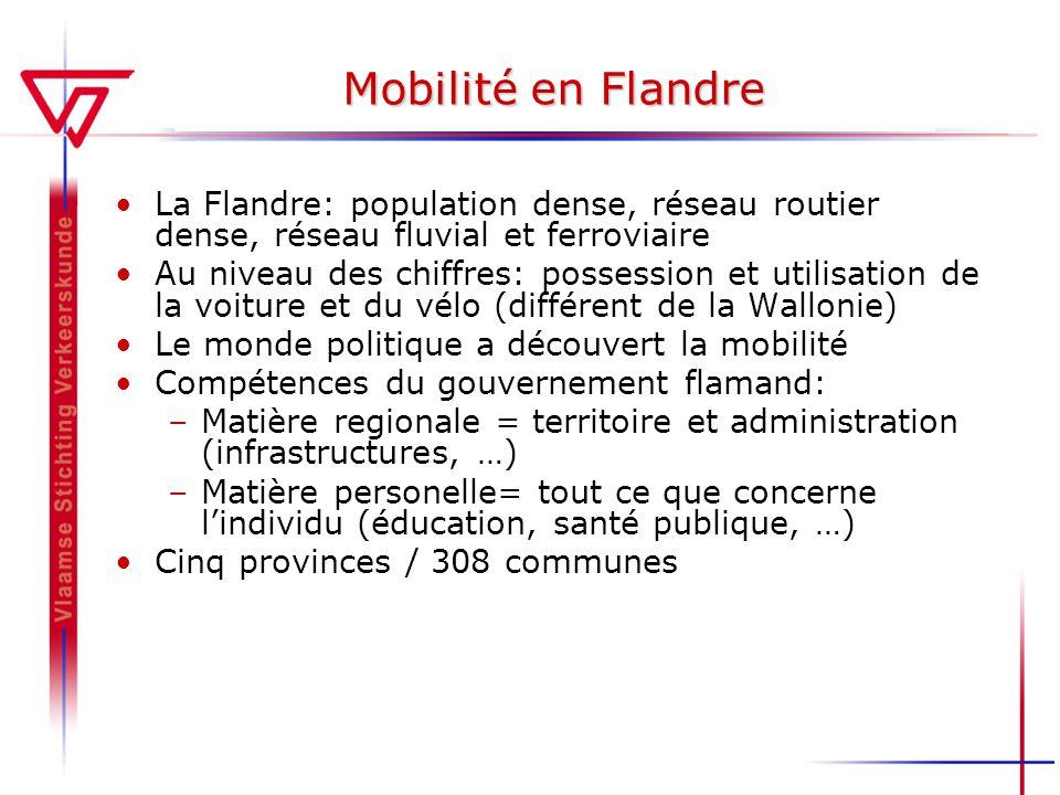 Mobilité en Flandre La Flandre: population dense, réseau routier dense, réseau fluvial et ferroviaire.
