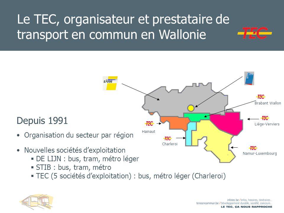 Le TEC, organisateur et prestataire de transport en commun en Wallonie