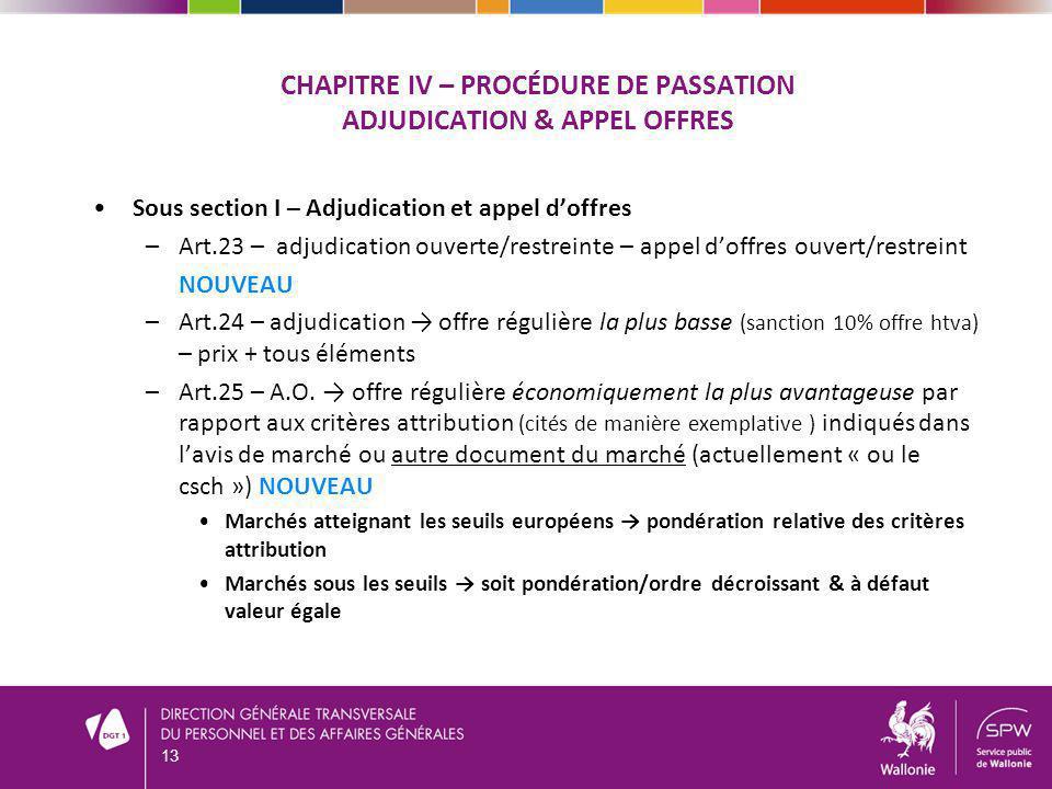 CHAPITRE IV – Procédure de passation Adjudication & appel offres