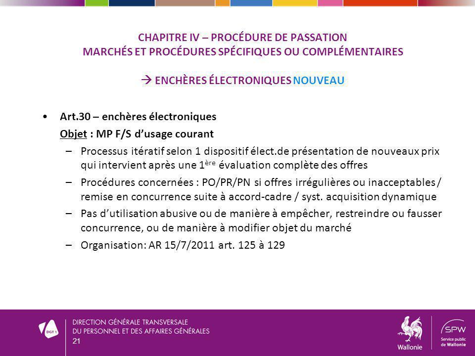 Art.30 – enchères électroniques Objet : MP F/S d'usage courant