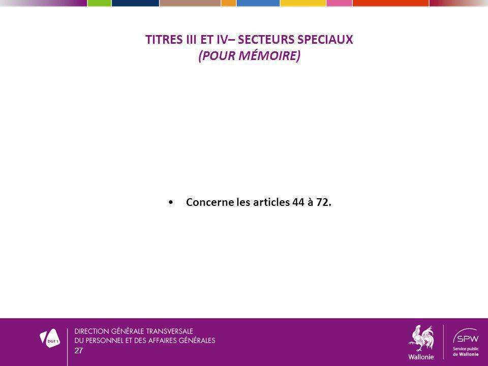 Titres Iii et iv– SECTEURS SPECIAUX (pour mémoire)