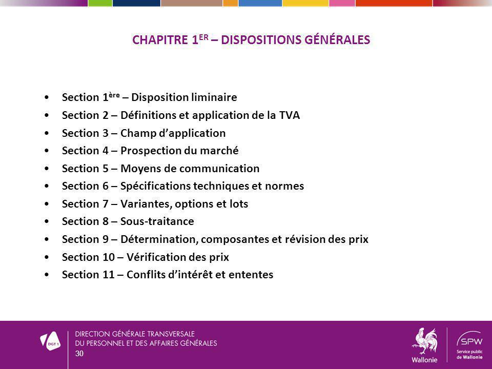 CHAPITRE 1er – DISPOSITIONS Générales