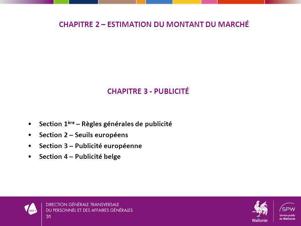 CHAPITRE 2 – Estimation du montant du marché