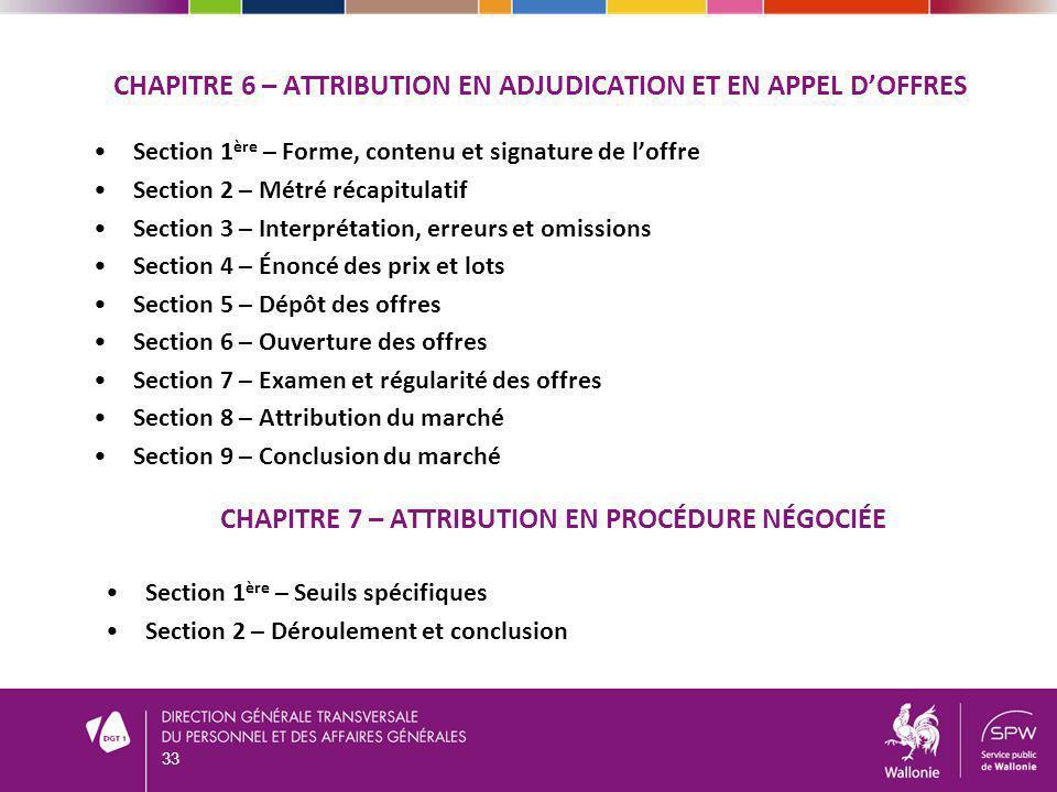 Chapitre 6 – Attribution en adjudication et en appel d'offres