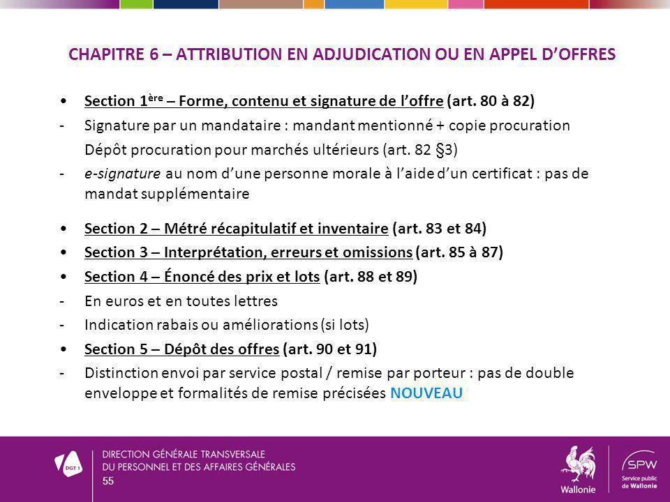 Chapitre 6 – attribution en adjudication ou en appel d'offres