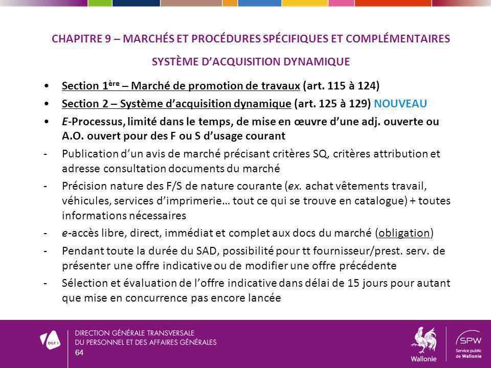 Section 1ère – Marché de promotion de travaux (art. 115 à 124)