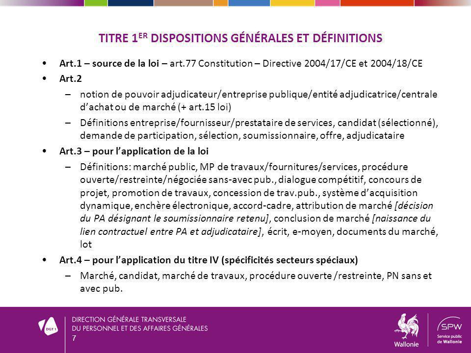TITRE 1er Dispositions générales et définitions
