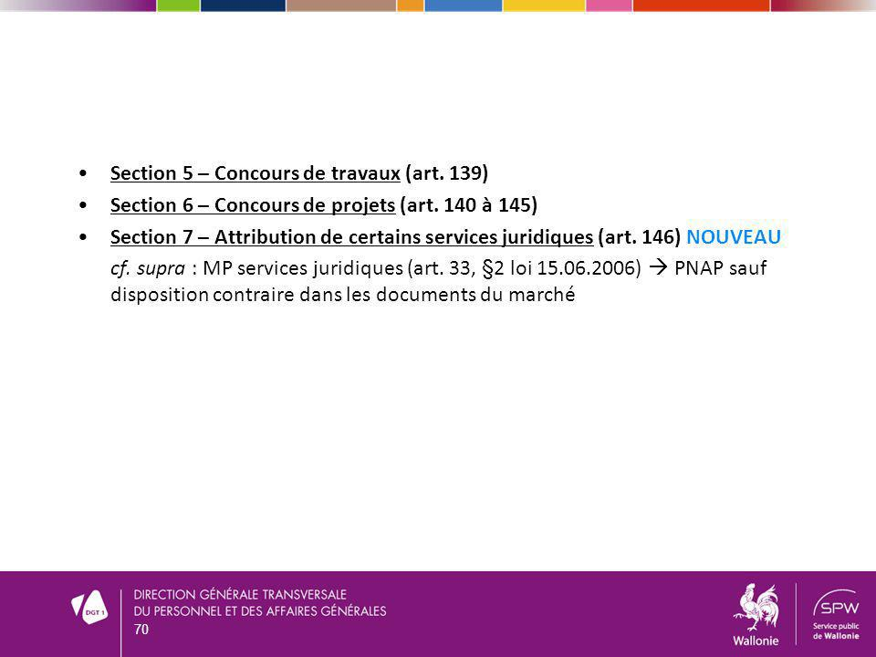 Section 5 – Concours de travaux (art. 139)