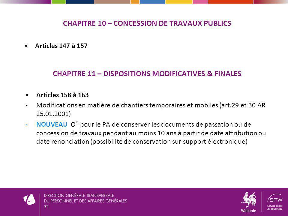 CHAPITRE 10 – Concession DE TRAVAUX PUBLICS
