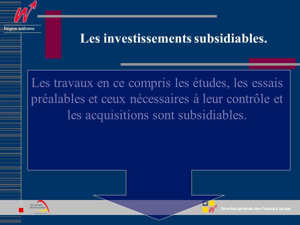 Les investissements subsidiables.
