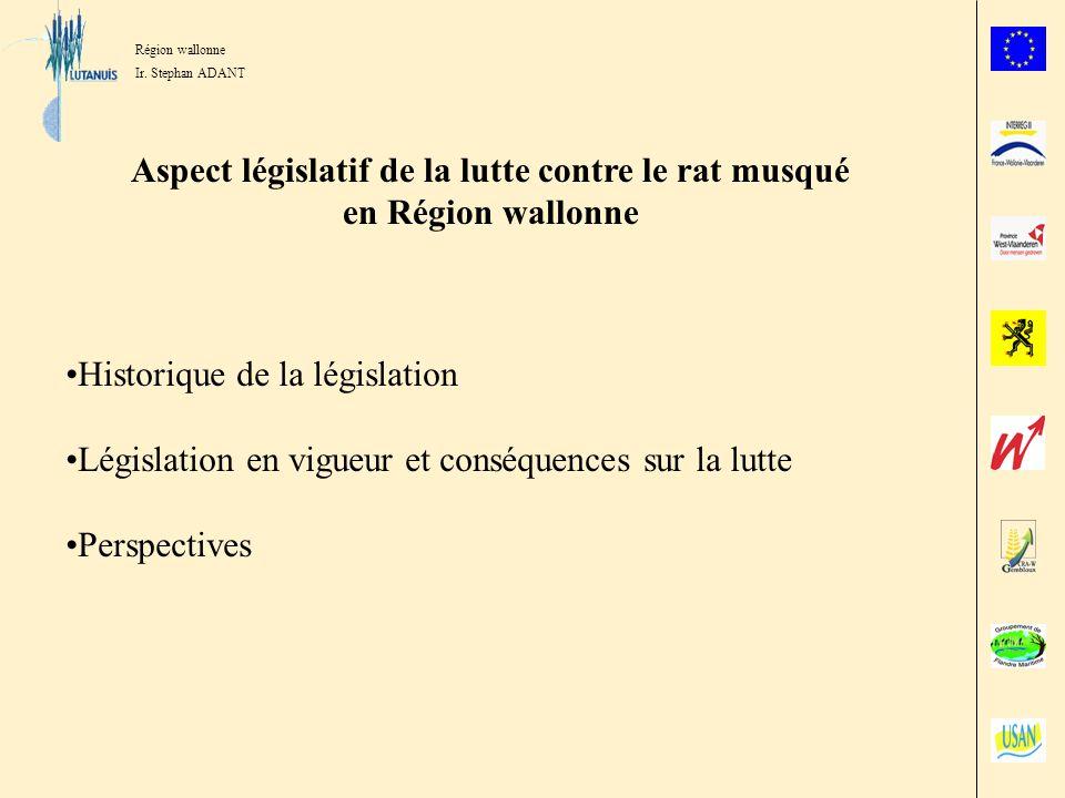 Aspect législatif de la lutte contre le rat musqué