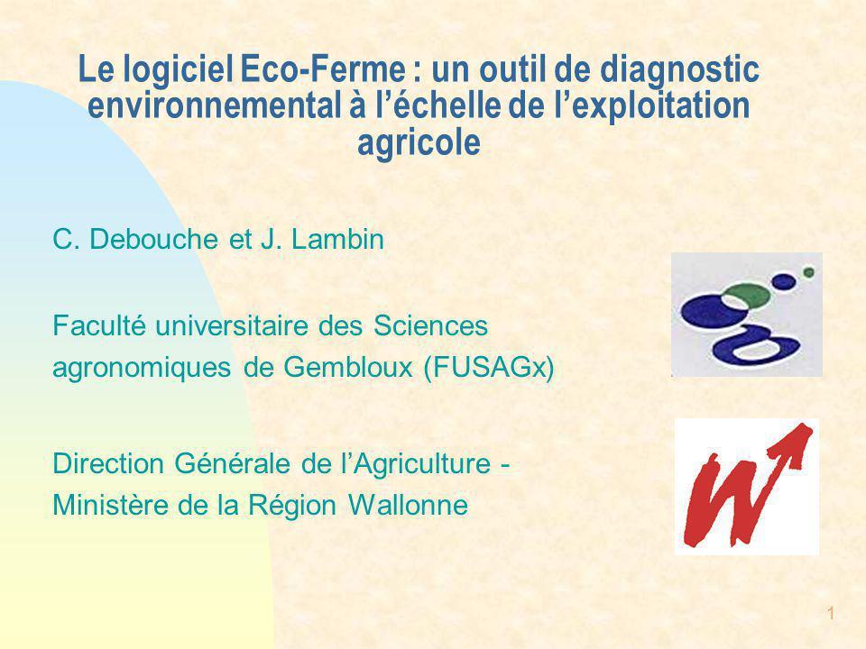 Le logiciel Eco-Ferme : un outil de diagnostic environnemental à l'échelle de l'exploitation agricole