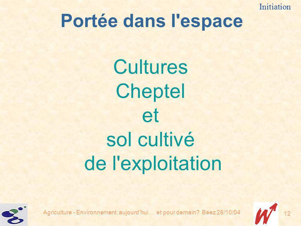 Cultures Cheptel et sol cultivé de l exploitation Portée dans l espace