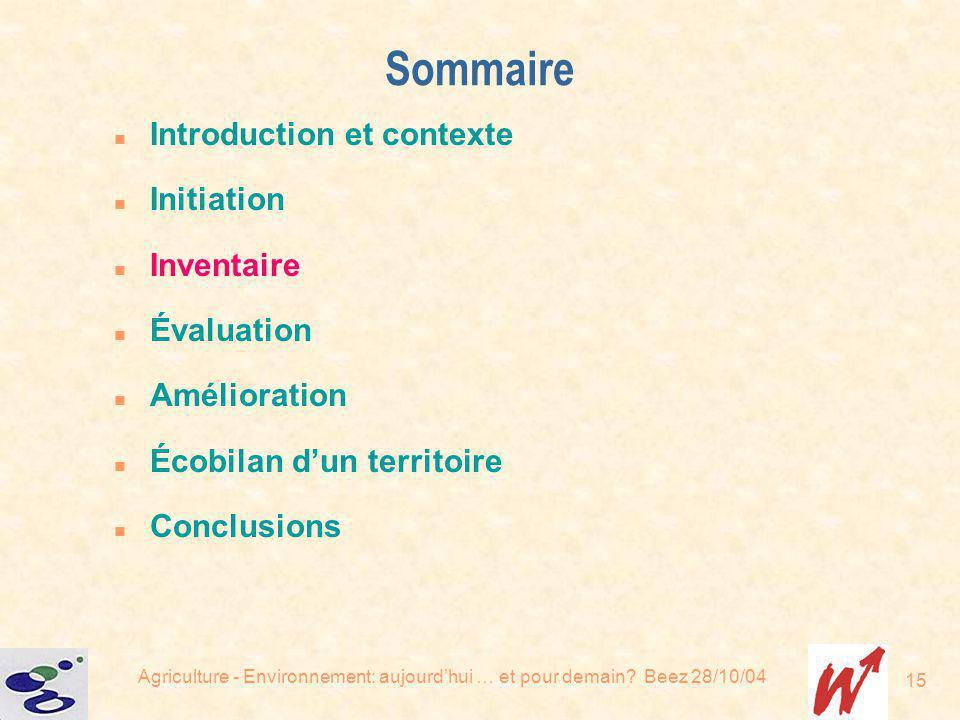 Sommaire Introduction et contexte Initiation Inventaire Évaluation