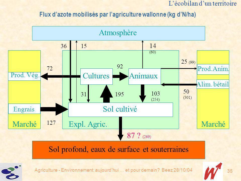 Flux d'azote mobilisés par l'agriculture wallonne (kg d'N/ha)