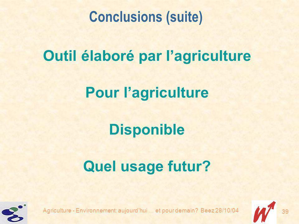 Outil élaboré par l'agriculture