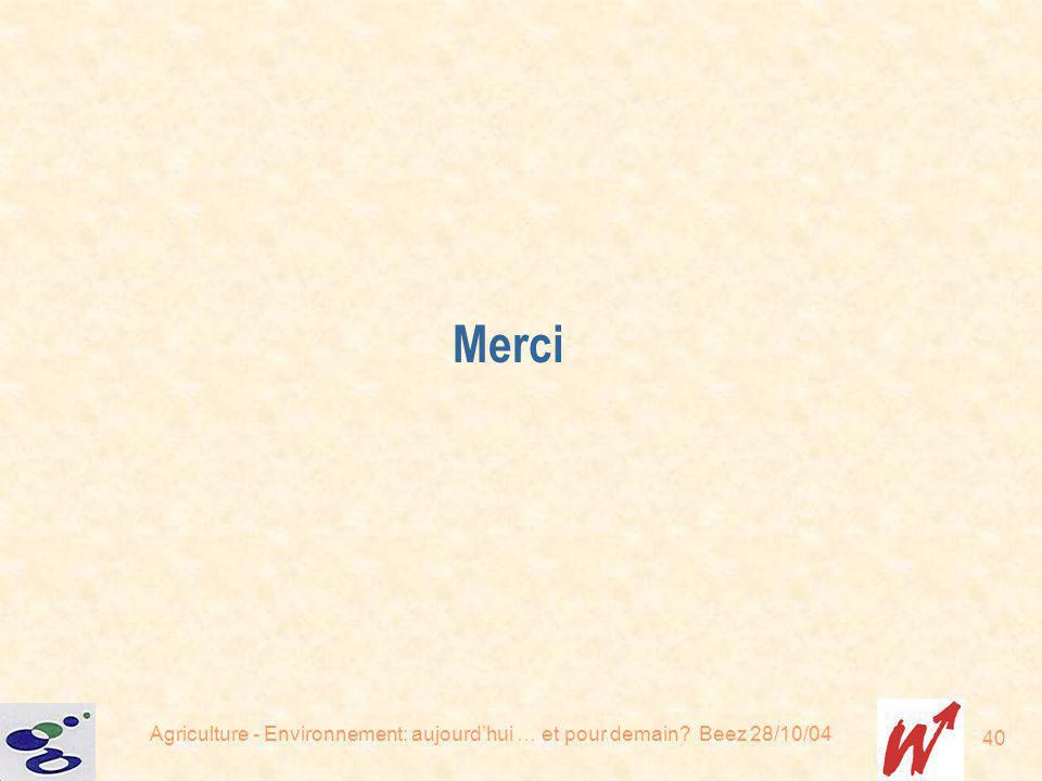 Merci Agriculture - Environnement: aujourd'hui … et pour demain Beez 28/10/04