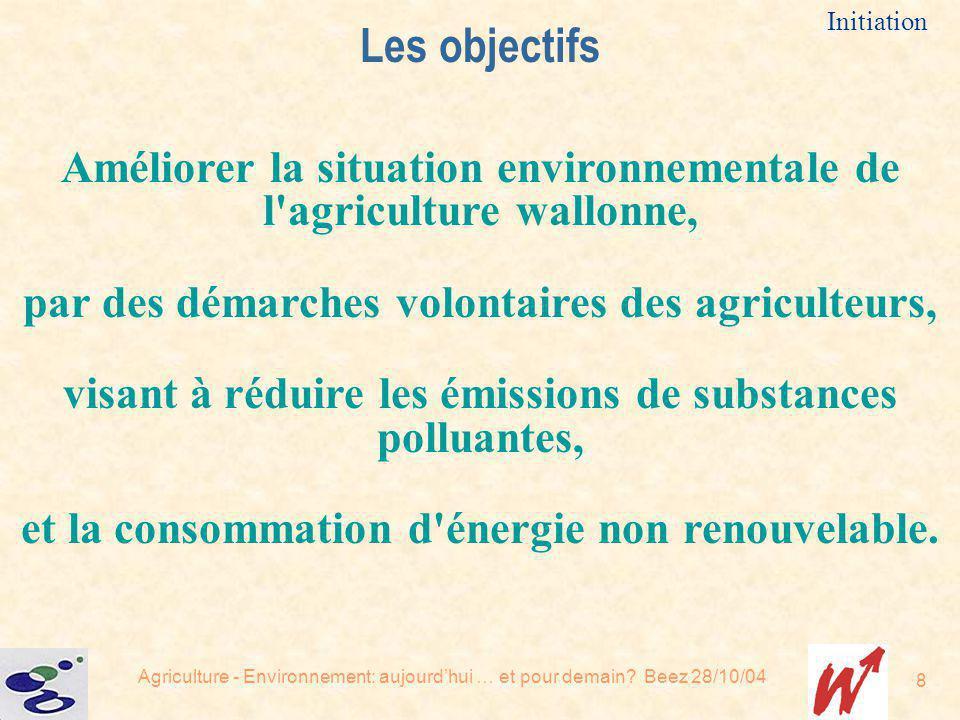 Les objectifs Initiation. Améliorer la situation environnementale de l agriculture wallonne, par des démarches volontaires des agriculteurs,