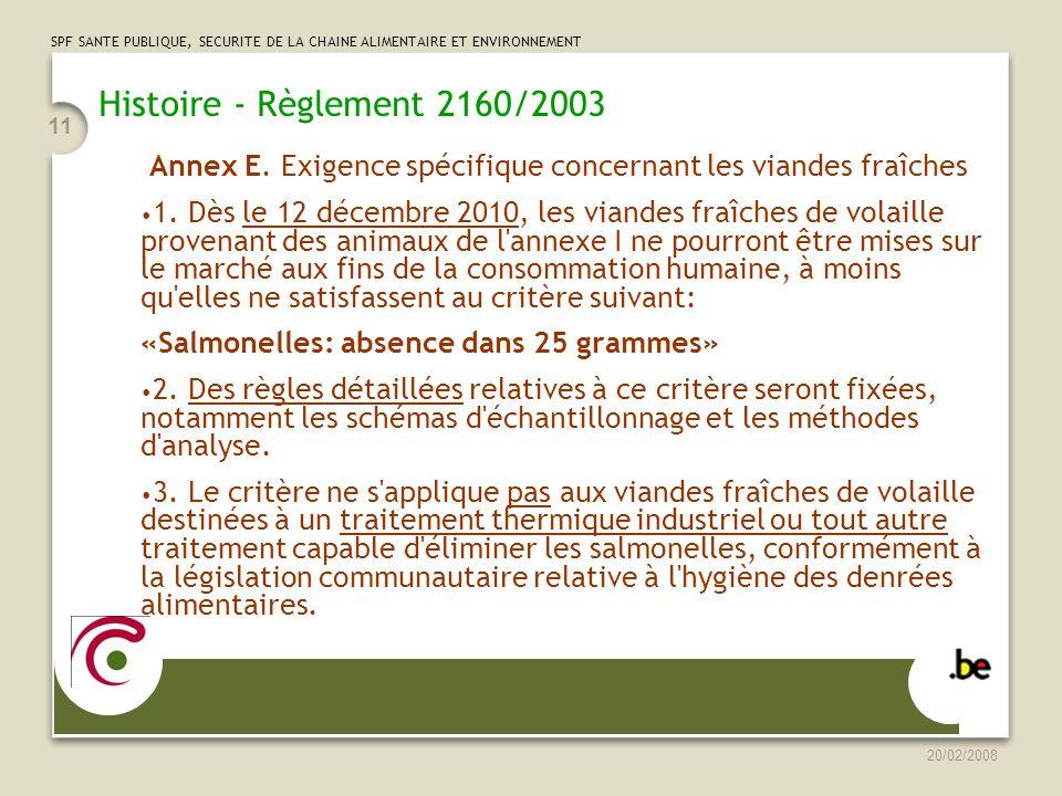 Histoire - Règlement 2160/2003 Annex E. Exigence spécifique concernant les viandes fraîches.