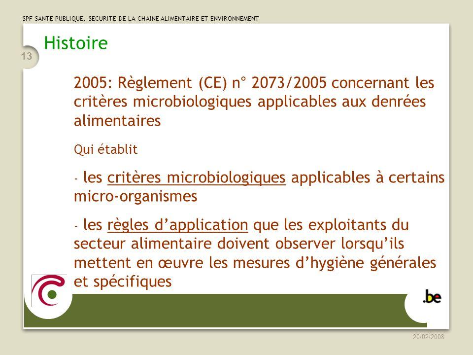 Histoire 2005: Règlement (CE) n° 2073/2005 concernant les critères microbiologiques applicables aux denrées alimentaires.